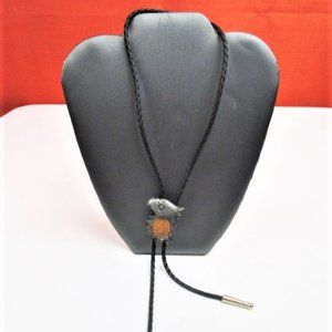 Black Leather Bolo With Indian Head Penny